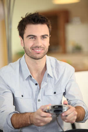 Man playing video games photo