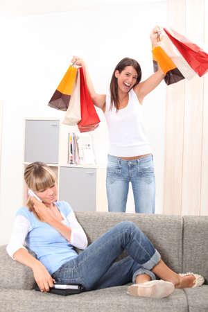 two teenage girls having fun at home Stock Photo - 23807547