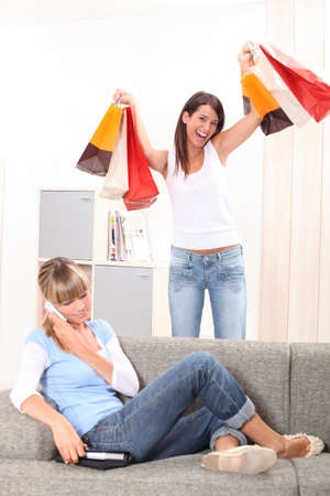 two teenage girls having fun at home Stock Photo - 23807547