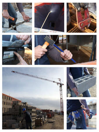 composite image: Construction themed collage