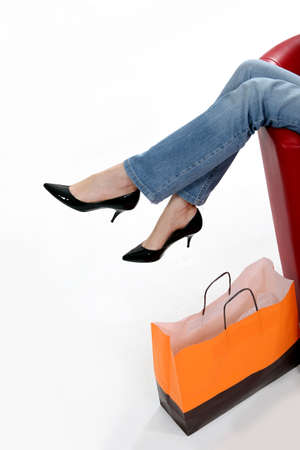 Woman relaxing after shopping trip