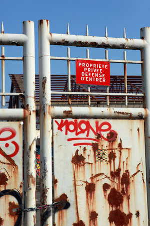 padlocked: Private property protected by a gate