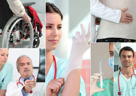 garden staff: Hospital staff and patients Stock Photo