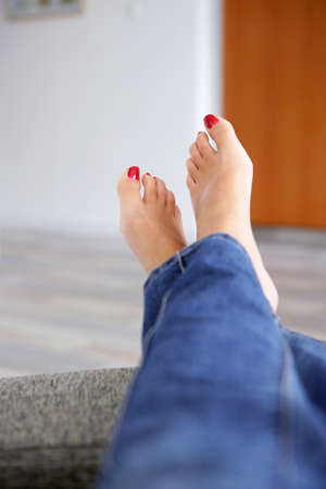 Red toenails photo