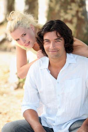 portrait of a couple outdoors photo