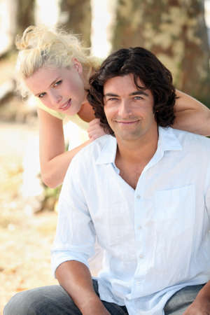 blonde haired: portrait of a couple outdoors Stock Photo