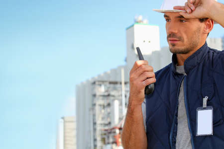 Foreman with a walkie talkie Stock Photo - 23874085