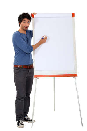 narration: a man with a whiteboard