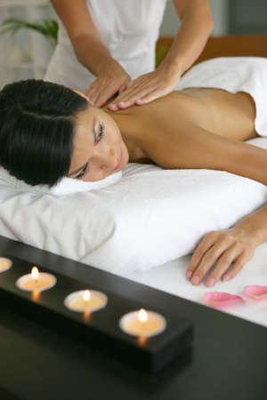 Woman enjoying her spa treatment Stock Photo