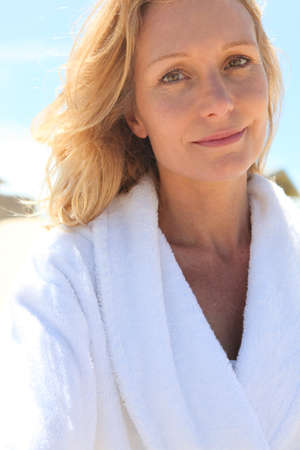 bath gown: Woman wearing bath robe