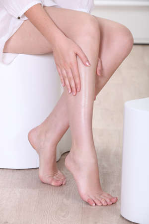 lotions: close-up of a leg
