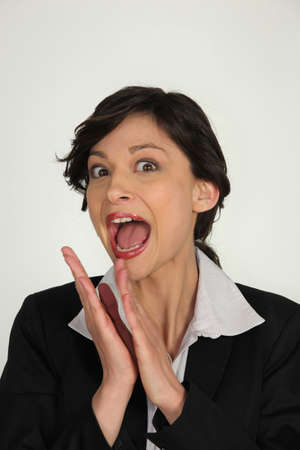 delirious: Excited brunette