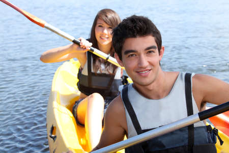 Couple in a canoe photo