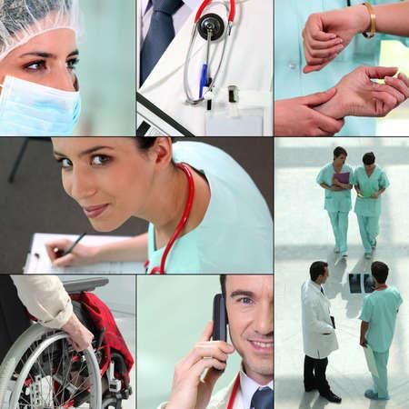 duties: miscellaneous snapshots of medical staff Stock Photo