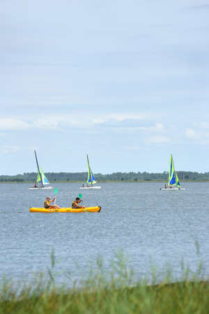 gust: Water sports on a lake Stock Photo