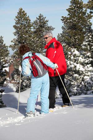 one senior man only: Mature ski couple Stock Photo