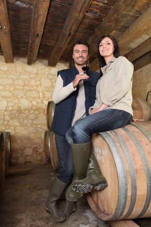 connaisseur: un paio di produttori di vino in una cantina