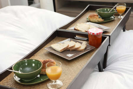Break trays on bed photo