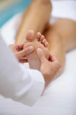 pampered: Foot massage Stock Photo