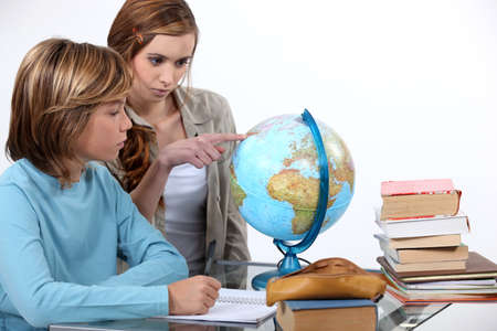 human geography: Two kids in geography class