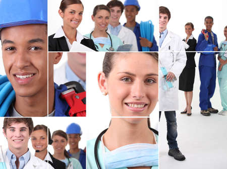 Collage illustrating career choices photo