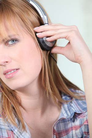 woman listening music photo