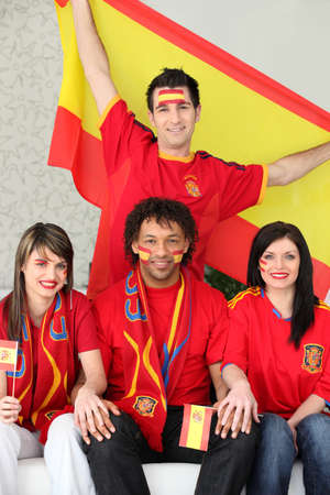 Spanish soccer fans Stock Photo - 24320021