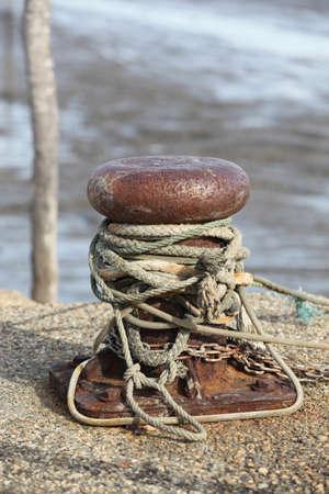 bollard: Rope wrapped around a bollard