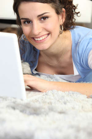 woman with computer Stock Photo - 24258093