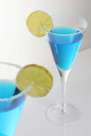 ingest: Two glasses of blue cocktail Stock Photo