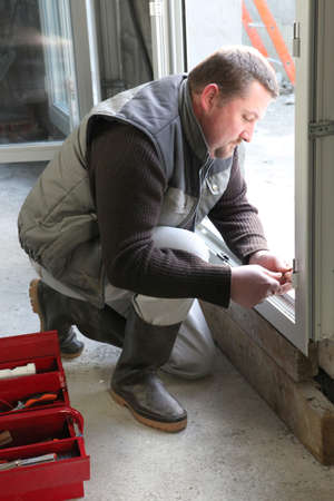 Laborer laying window