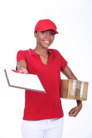 overnight: Delivery girl with a package