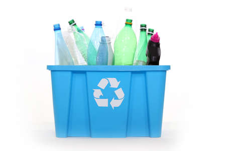 keep watch over: box full of plastic bottles for recycling