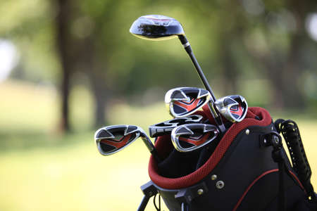 close-up of golf clubs Stock Photo