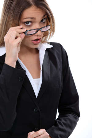 point of view: Brunette woman taking off her glasses