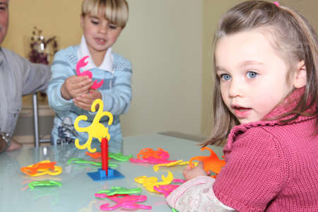 game block: Brother and sister playing a game