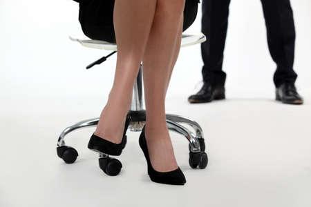 subordinated: Businesswomans heeled shoes