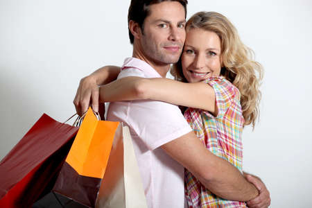 retail therapy: Couple on a shopping spree