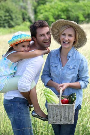 family in a field photo