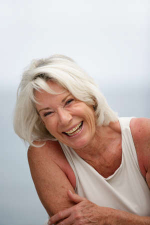 easy going: Retired woman laughing