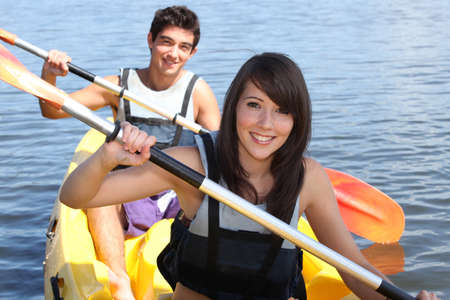 Couple in canoe photo
