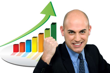 Excited bald businessman photo