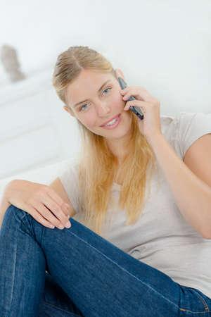 lady on phone: Lady on phone Stock Photo