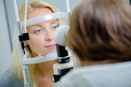 Having an eye exam Stock Photo
