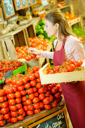 grocers: Restocking tomatoes Stock Photo