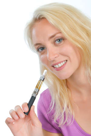 trying: Woman trying an electronic cigarette Stock Photo