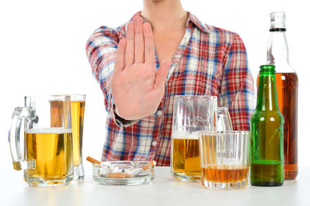 stop: Woman wants to quit drinking and smoking Stock Photo