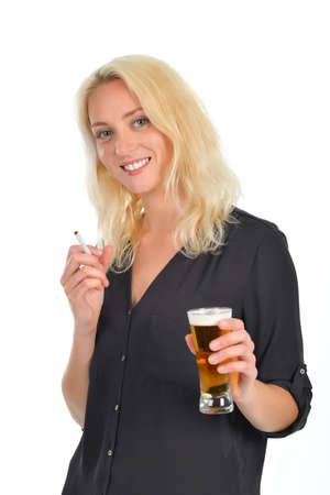 dressed: Blond woman with a beer in her hand