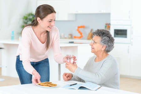 Senior lady needs to take her pills