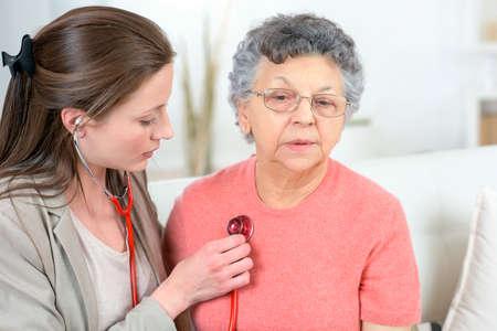 beat: Checking senior womans heartbeat